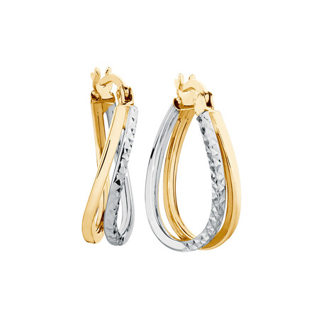 Huggie Earrings in 10kt Yellow & White Gold