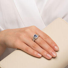 Ring with Tanzanite & 1 Carat TW of Diamonds in 14kt White Gold