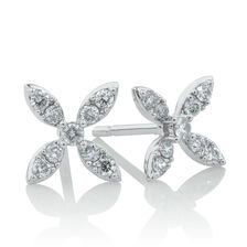 Flower Stud Earrings with 1/4 Carat TW of Diamonds in 10kt White Gold