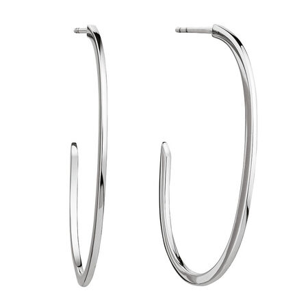 Open Oval Hoop Earrings in Sterling Silver