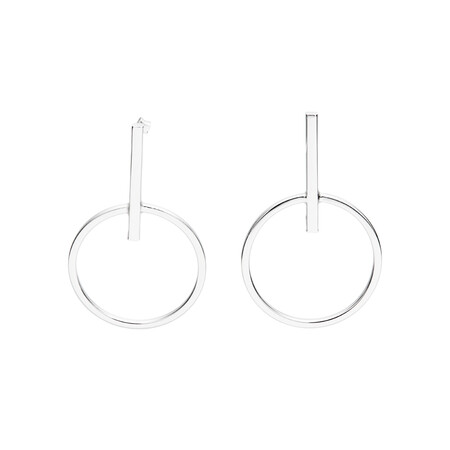 Large Bar and Circle Geometric Stud Earrings in Sterling Silver