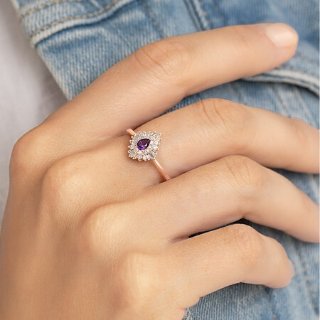 Ballerina Ring with Amethyst & 0.25 Carat TW of Diamonds in 10kt Rose Gold
