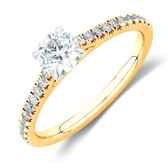 Solitaire Engagement Ring with 0.78 Carat TW of Diamonds in 14kt Yellow & White Gold