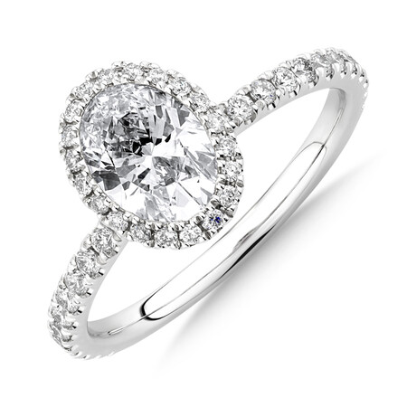 Sir Michael Hill Designer Halo Oval Engagement Ring with 1.35 Carat TW of Diamonds in 18kt White Gold