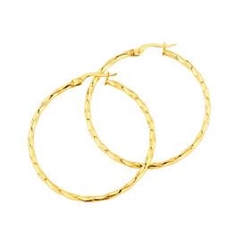 38mm Square Twist Hoop Earrings in 10kt Yellow Gold