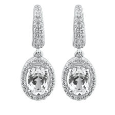 Oval Drop Earrings with Created White Sapphire in Sterling Silver