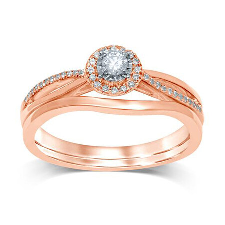 Bridal Set with 0.20 Carat TW of Diamonds in 10kt Rose & White Gold