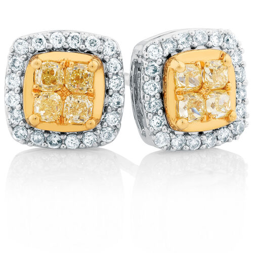 Stud Earrings with 0.63 Carat TW of White & Natural Yellow Diamonds in 10kt Yellow & White Gold