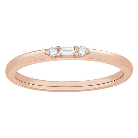 Stacker Ring with Diamonds in 10kt Rose Gold