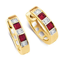 Hoop Earrings with Created Ruby & Diamonds in 10kt Yellow & White Gold