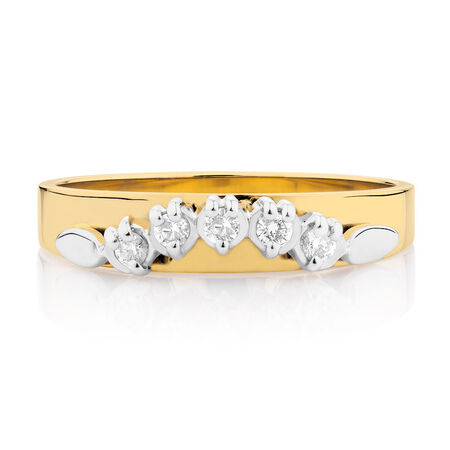 Wedding Band with Diamonds in 10kt Yellow & White Gold