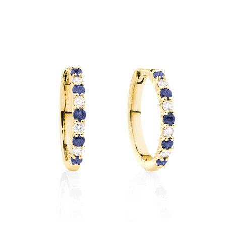 Huggie Earrings with Natural Sapphire & 0.20 Carat TW of Diamonds in 10kt Yellow Gold