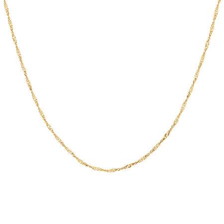 """50cm (20"""") Hollow Singapore Chain in 10kt Yellow Gold"""