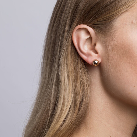 Patterned Ball Stud Earrings in 10kt Rose Gold