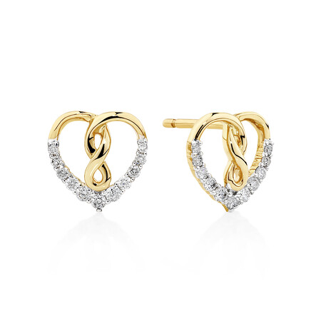 Heart Infinity Earrings With 0.20 Carat TW Of Diamonds In 10kt Yellow Gold