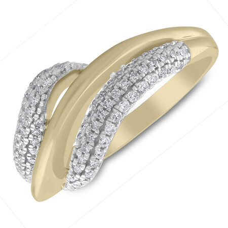 Twist Ring with 0.33 Carat TW of Diamonds in 10kt Yellow Gold