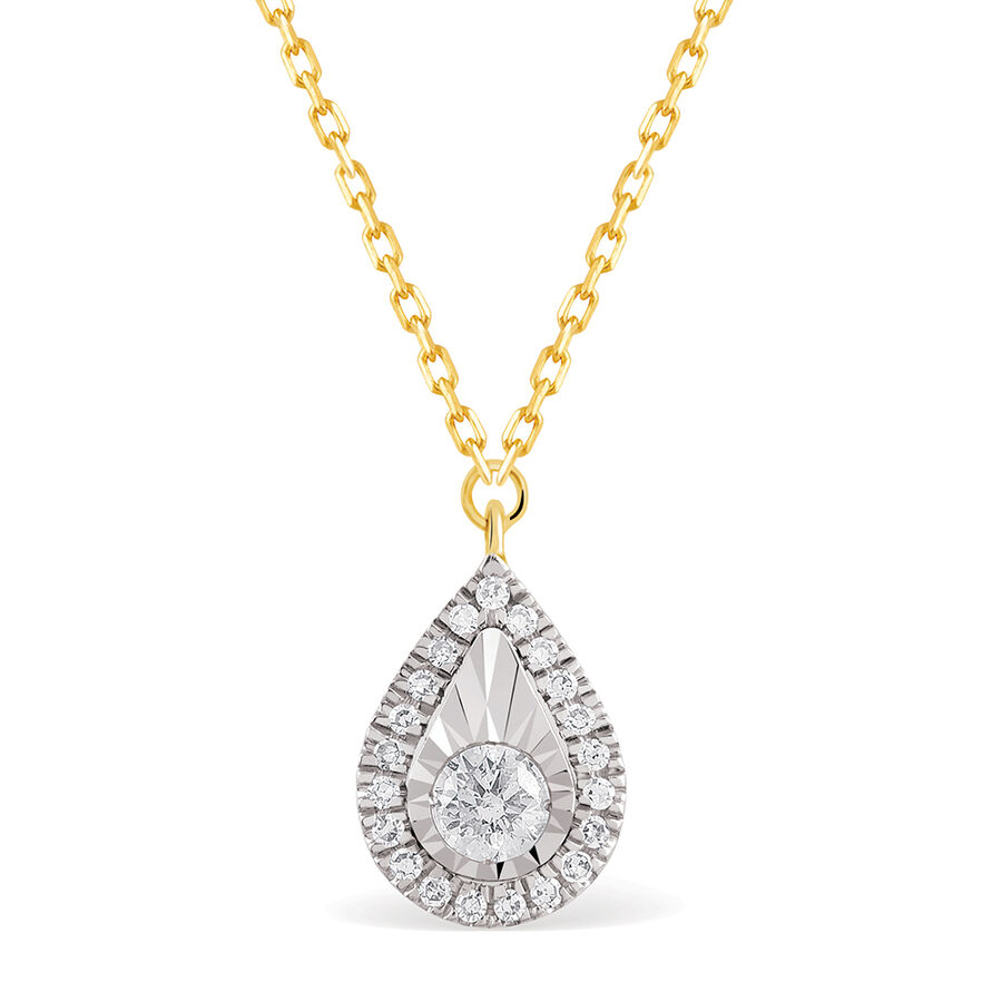 Pear Necklace With 1/8 Carat TW Of Diamonds In 10kt Yellow Gold