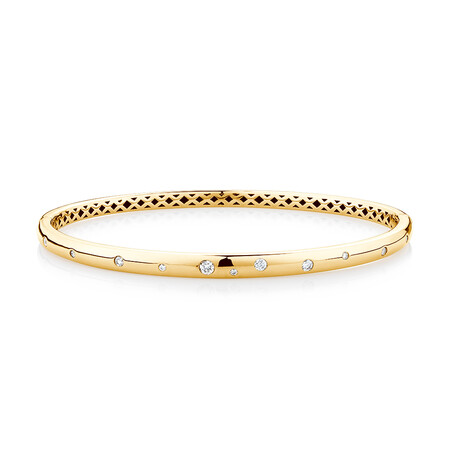 Hammer Set Bangle with 1/4 Carat TW of Diamonds in 10kt Yellow Gold