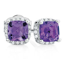 Stud Earrings with Amethyst & Diamonds in 10kt White Gold