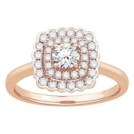 Ring with 0.75 Carat TW of Diamonds in 14kt Rose Gold