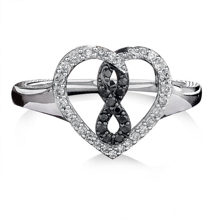 Infinitas Ring with 1/4 Carat TW of White & Enhanced Black Diamonds in Sterling Silver