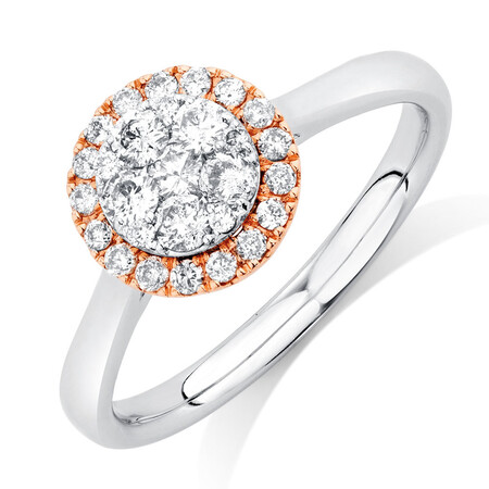 Engagement Ring with 1/2 Carat TW of Diamonds in 10kt Rose & White Gold
