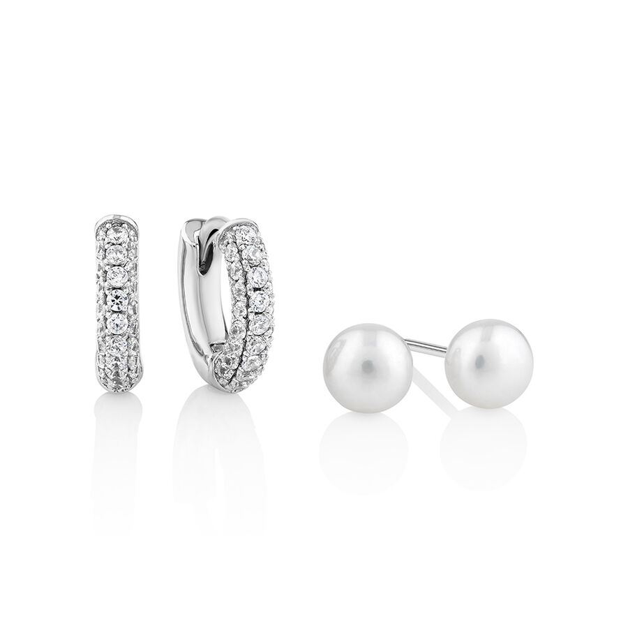 Earring Set Featuring Pearl & Cubic Zirconia in Sterling Silver