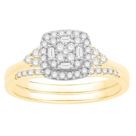 Bridal set with 0.38 Carat TW of Diamodns in 10kt Yellow & White Gold