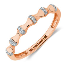 Bamboo Stacker Ring With Diamonds in 10kt Rose Gold