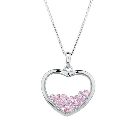 Heart Pendant with Pink Cubic Zirconias in Sterling Silver