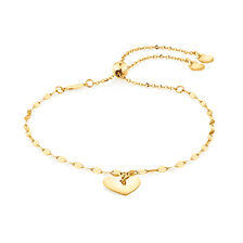 Adjustable Heart Bolo Bracelet in 10kt Yellow Gold