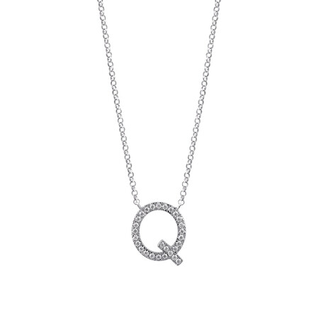 """Q"" Initial necklace with 0.10 Carat TW of Diamonds in 10kt White Gold"
