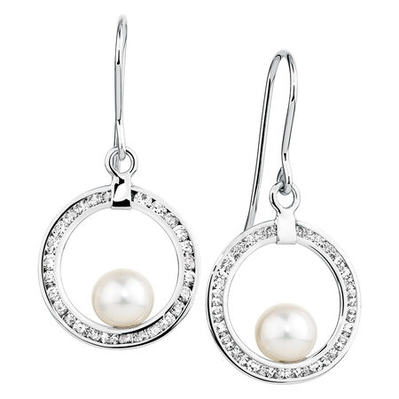 Drop Earrings with Cubic Zirconia & Cultured Freshwater Pearl in 10kt Yellow Gold