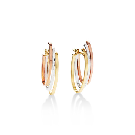 Oval Hoop Earrings in 10kt Yellow, White & Rose Gold