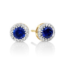 Stud Earrings with Created Sapphire & 0.18 Carat TW of Diamonds in 10kt Yellow Gold