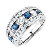 Ring with 1 Carat TW of Diamonds & Sapphires in 14kt White Gold