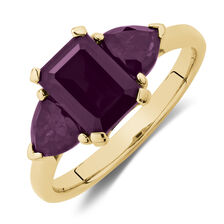 Ring with Created Red Sapphires in 10kt Yellow Gold
