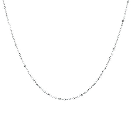 """40cm (16"""") Solid Cable Chain in 10kt White Gold"""