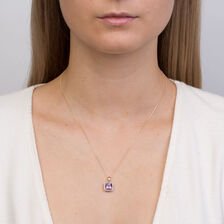 Pendant with Amethyst & Diamonds in 10kt Yellow Gold
