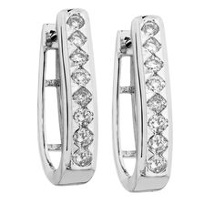 Huggie Earrings with 0.34 Carat TW of Diamonds ih 10kt White Gold