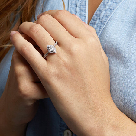 Engagement Ring with 0.40 Carat TW of Diamonds in 14kt White Gold