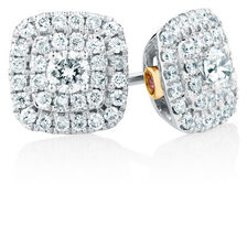Sir Michael Hill Designer Arpeggio Stud Earrings with 1/2 Carat TW of Diamonds in 14kt White & Rose Gold