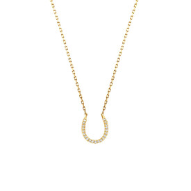 Horseshoe Pendant With Diamonds In 10kt Yellow Gold