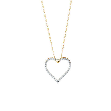 Heart Pendant with 0.15 Carat TW of Diamonds in 10kt Yellow Gold