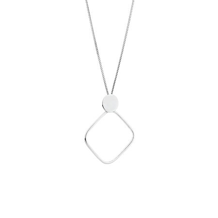 Diamond Shaped Pendant in Sterling Silver