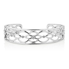 Cuff with Diamonds in Sterling Silver