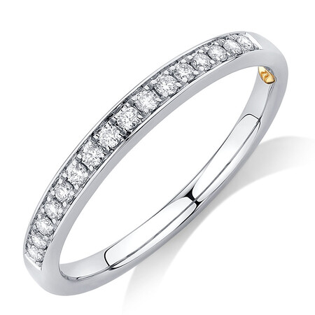 Whitefire Wedding Band with 0.15 Carat TW of Diamonds in 18kt White Gold & 22kt Yellow Gold