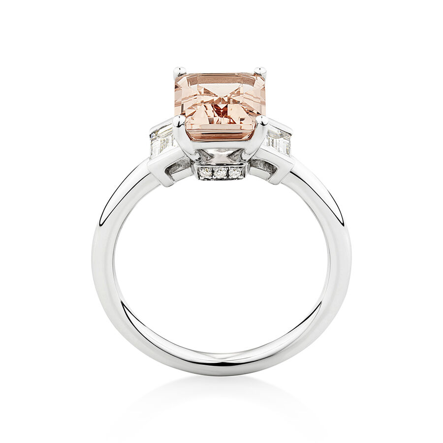 Sir Michael Hill Designer Emerald Cut Engagement Ring with Morganite & 0.48 Carat TW of Diamonds in 18kt White Gold