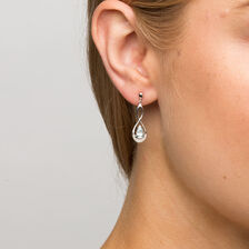 Drop Earrings with Aquamarine & Diamonds in 10kt White Gold