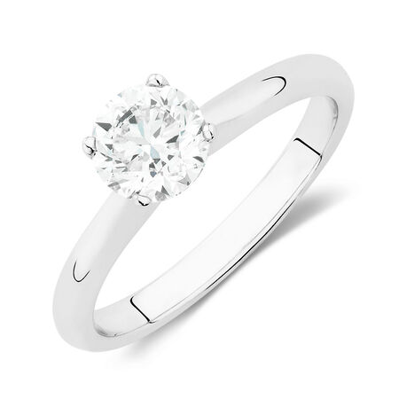 Solitaire Engagement Ring with a 1 1/2 Carat Diamond in 14kt White Gold